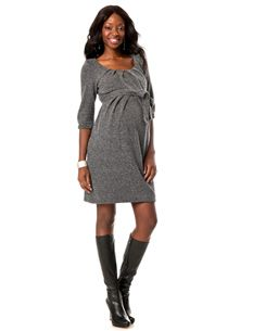 3/4 Sleeve Belted maternity dress, $109.50, A Pea in the Pod