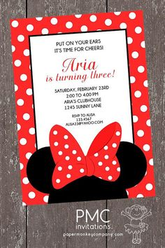 Red and White Dots Minnie Mouse Birthday Invitation - 1.00 each with envelope on Etsy, $1.00