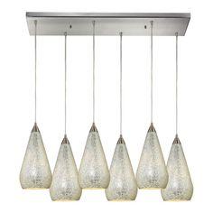 "Elk Lighting 546-6RC Curvalo 6 Light 30"" Wide Multi Light Pendant with Rectangle Silver Indoor Lighting Pendants"