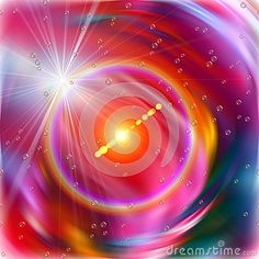 Cosmic colorful sky and energy nebula with sparkling stars and rays in violet and orange hues. Concept image.