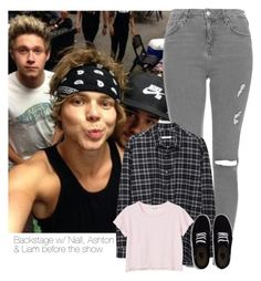 """Backstage before the show with Niall, Ashton & Liam."" by selda2424 ❤ liked on Polyvore featuring Topshop, 6397, Monki and Vans"