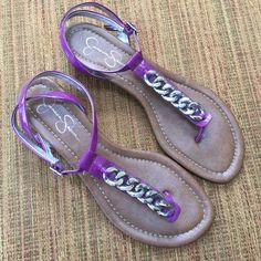 Jessica Simpson light purple sandals Beautiful wrap around the ankle patent material sandals. Gently worn a few times. Inner part of shoe straps are of silver color. As you can see half of the bottoms of each shoes are soft patting to decrease slipping. Jessica Simpson Shoes Sandals