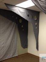 Trusses made from gray bed sheet and permanent markers.