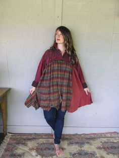 Bohemian dress upcycled clothing original design fall tunic X Large 1 X 2 X country smock prairie frock farm girl dress LillieNoraDryGoods   For work or play........casual and comfy oversized style  Great for layering  - made with a vintage medium weight cotton shirt - unique cotton knit t shirt bottom  Colors........shades of reds, shades of rust, black . Frayed, raw and zigzagged edges.  Gentle cold water wash  Estimated size X Large (oversized fit) to 1 X to 2 X Measured flat 26.5 across…