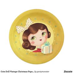 Cute Doll Vintage Christmas Paper Plates