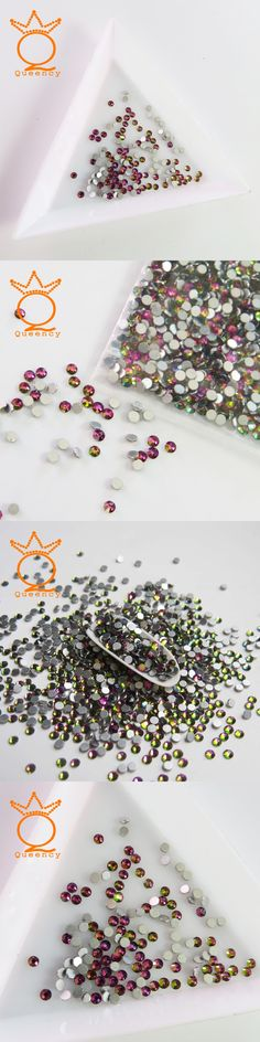 QUEENCY SS3-SS20 Crystal Rainbow color Non Hotfix Flatback Nail Rhinestones Nails Accessories