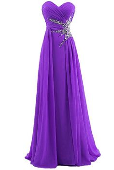 Dresstells Sweetheart Beading Floor-length Chiffon Prom Dress Evening Gown * See this awesome image : Women clothing Strapless Prom Dresses, Purple Bridesmaid Dresses, Cute Prom Dresses, Plus Size Prom Dresses, Purple Dress, Prom Gowns, Long Dresses, Long Gowns, Dress Prom