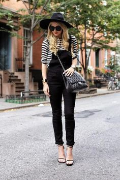 See how Blair Eadie of Atlantic Pacific styles black overalls (and 49 other two-tone outfits we love) - click here