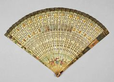 circa 1700  Period: early 18th Century  Description: Folding fan, sticks of bone, pierced and painted with bodycolour and lacquer with appli...