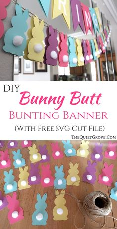 DIY Bunny Butt Easter Bunting Banner (+Free SVG Cut File) DIY Bunny Butt Easter Bunting Banner (+Free SVG Cut File) via Add a little fun and cuteness to your Easter Decorations with this easy to make Bunny Butt Bunting Banner! (With Free SVG cut file) Ostern Party, Easter Banner, Diy Easter Bunting, Easter Garland, Diy Easter Decorations, Easter Wreaths, Crafts For Kids, Diy Crafts, Easter Crafts Kids