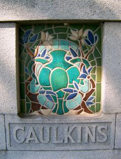 Caulkins Family Memorial (c.1920s), Elmwood Cemetery, Section 11, Robert Bradby Drive & Lafayette St, Detroit. (Horace J. Caulkins, buried here, was Mary Chase Stratton's founding partner at Pewabic Pottery and the developer of Pewabic's revolutionary 'Revelation' kiln. We're told that Stratton herself designed and fired the Pewabic tiles for this monument.)