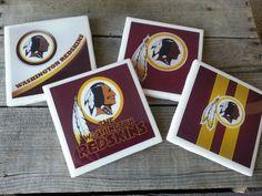 Set of 4 Washington Redskins coasters by ManCaveQuilts1 on Etsy