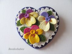 Felt Heart Brooch / Felt Heart Pin by Beedeebabee on Etsy, $36.00