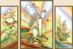 "Original Silk Painting by Svetlana Titova  (Set of 3 paintings) .Title: Palmira.  Size 20"" h x 8"" w, 24"" h x 16"" w, 20"" h x 8"" w"