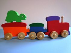 Wooden Toy Train With Turtle Rider - Hand Made - Waldorf - Imagination Toy - Colorful - Eco Friendly Kids Toy