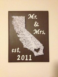 Wedding Gift Ideas Second Time Around : DIY 2year wedding anniversary gift. cotton string art. bought wood ...