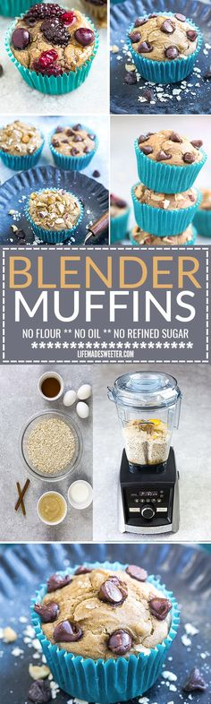 Easy Blender Muffins with 4 Different Toppings - the perfect healthy breakfast or snack. Best of all, comes together easily in a blender with no flour, no oil and no refined sugar. Healthy, hearty, delicious and great for making ahead on Sunday meal prep Best Breakfast Recipes, Brunch Recipes, Eat Breakfast, Breakfast Ideas, Muffin Recipes, Baking Recipes, Bread Recipes, Easy Recipes, After Workout Snack