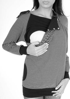 Viva la Mama | The 3-in-1, cozy, red/white striped long-sleeved nursing & maternity hoodie BALTIC has a comfortable and long cut but is stylish and casual as well. BALTIC makes discreet breastfeeding everywhere possible. With its maritime style it is a cute piece in your maternity wardrobe.