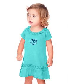 This Carribean Blue Ruffle Monogram Dress - Infant, Toddler & Girls by Princess Linens is perfect! #zulilyfinds