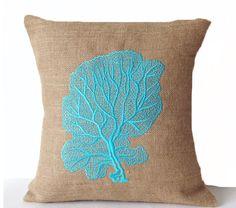 Burlap Pillow Cover -Coral Fan Pillows -Oceanic Pillows -Nautical Pillow -Gift -Beach House -Anniversary -Shabby Chic -Multi Size Pillows