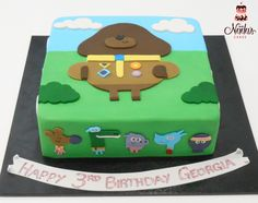 Hey Duggee Themed Birthday Cake Third Birthday Girl, Leo Birthday, 3rd Birthday Cakes, Grandma Birthday, Kids Birthday Party Invitations, 3rd Birthday Parties, Birthday Ideas, Digger Cake, Celebration Cakes
