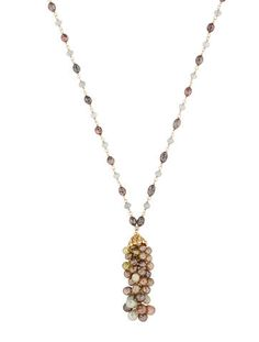 18K yellow gold necklace with mixed sapphire beads and stations, rosecut diamonds set in tassel bellcap and lobster clasp closure. Total diamond weight is 0.25 carat.   <b> This item has been inspected and appraised by our certified gemologist. </b>  <b>Metal:</b> 18K Yellow Gold <b>Finish:</b> Bright <b>Total Gram Weight:</b> 11.92