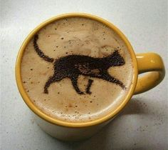Caturday Inspiration: Creative Cat Coffee Art Pics] When a black cat crosses over your cup of coffee, does it mean you'll have bad luck all day? Enjoy your coffee and you will have a good day when you think positive. Coffee Latte Art, I Love Coffee, Coffee Break, Coffee Shop, Coffee Cups, Coffee Coffee, Black Coffee, Morning Coffee, Cappuccino Art