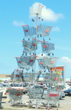 Shopping trolley Christmas tree at an East London South Africa shopping mall