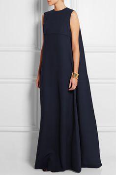 Valentino | Robe longue du soir en cady de soie à dos effet cape | NET-A-PORTER.COM