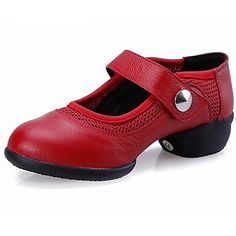 Non+Customizable+Women's+Dance+Shoes+Dance+Sneakers+Leather+Low+Heel+Black/Red+–+USD+$+29.74