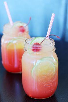 Shirley Temple -  •3 ounces lemon-lime soda •3 ounces ginger ale •Dash grenadine •Maraschino cherry for garnish