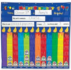 Learning Resources Pocket Chart - Birthday - 36 x 34 inches Birthday Bulletin Boards, Classroom Birthday, Birthday Wall, Birthday Board, School Classroom, Happy Birthday, Learning Resources, Teacher Resources, Kids Learning