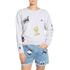 Paul & Joe Sister 'So Funny' Crewneck Cotton Sweatshirt (€125) ❤ liked on Polyvore featuring tops, hoodies, sweatshirts, grey, cartoon crew neck sweatshirts, gray sweatshirt, crewneck sweatshirt, long sleeve tops and embellished sweatshirt