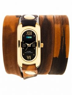 I adore La Mer watches! Handmade in America with fantastic material, unique washes, a fit for every wrist and a sleek, fitted hot chick vibe.  Neutral Tie Dye Gold Black Dial Soho Wrap Watch
