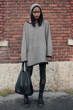 fall outfits: striped oversized sweater, styled with combat boots and a beanie
