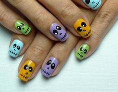 Creepy face nail art