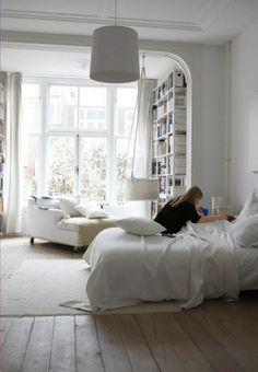 leander hanging cradle. sigh. lovely white bedroom