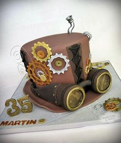 Steampunk Top Hat Cake and many birthday hints.