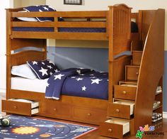 Allen House Chelsea Bunk Bed with Stairs Pecan