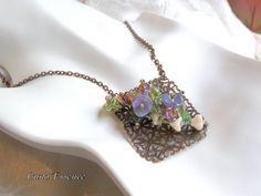 Purple Green Yellow Floral Trellis Pendant by LunaEssence on Etsy, $39.99