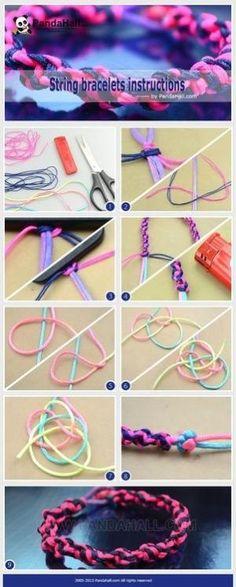 Jewelry Making Tutorial--How to DIY Braiding String Bracelets Diy Bracelets With String, Yarn Bracelets, Making Bracelets With Beads, Handmade Bracelets, Leather Bracelets, Handmade Jewelry, Jewelry Knots, Jewelry Crafts, Beaded Jewelry