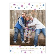 Snowy Holiday (Faux Glitter) Holiday Photo Card by Peony Hill Press - 5x7 - choose your paper, trim, envelope color and envelope liner! #peonyhillpress #holidaycard #photocard #christmascard #happiestholidays #snowflakes #dots
