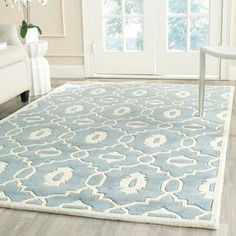 Safavieh Handmade Moroccan Chatham Geometric-pattern Blue/ Ivory Wool Rug x Size x Wool Rug, Home, Colorful Rugs, Online Home Decor Stores, Modern Wool Rugs, Rugs, Area Rug Sizes, Wool Area Rugs, Geometric Pattern Blue