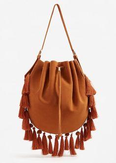 Tassels leather bag | MANGO
