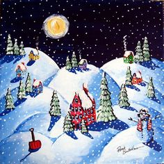 Snow Painting - Peaceful Night Under Frosty Moon by Renie Britenbucher Painting Snow, Moon Painting, Winter Magic, Winter Art, Winter Wonderland Pictures, Winter Beauty, Tis The Season, Snowflakes, Bing Images