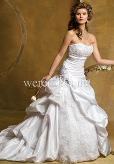 Ball Gown Strapless Taffeta Semi Cathedral Wedding Dress Style