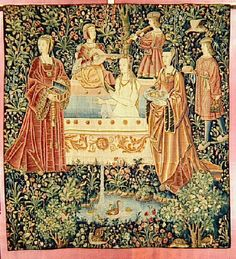 1500 (approx) - Tapestry of Court life - the bath - at Cluny museum