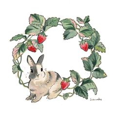 day 210 I drew 's bunny. Harlequin colored boy♡ He loved to sit in the strawberry type house🍓 ハーレクインの男の子🐰 苺型のハウスがお気に入りだったんだそう。 * Bunny Drawing, Bunny Art, Pretty Art, Cute Art, Rabbit Art, Art And Illustration, Rabbit Illustration, Aesthetic Art, Cute Drawings