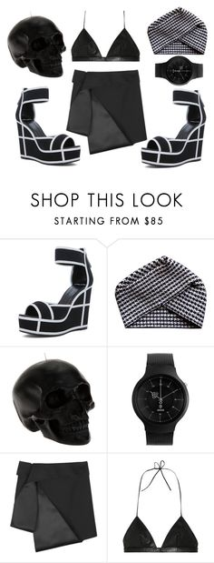 """Black skull"" by v4ndaleyes ❤ liked on Polyvore featuring Pierre Hardy, Electronic Sheep, D.L. & Co., Alessi, Dion Lee and Yves Saint Laurent"