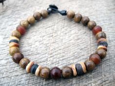 Mens tribal surfer bracelet horn shell and door thehappymushroom